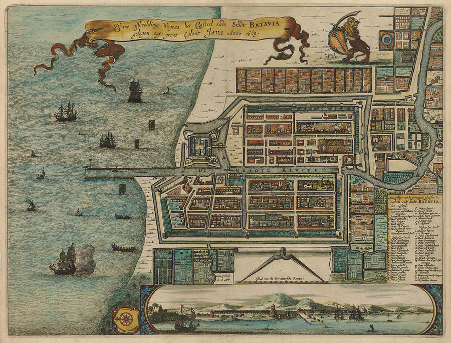 Antique Maps - Old Cartographic Maps - Antique Map Of Batavia, Dutch, 1669 Drawing