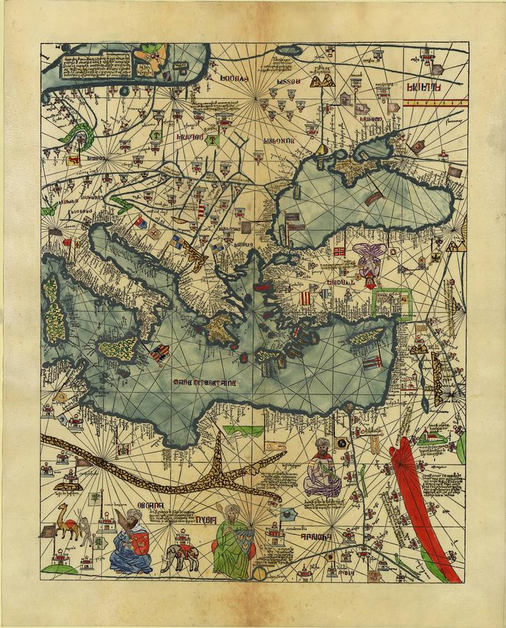 Antique Maps - Old Cartographic Maps - Antique Map Of Black Sea And Mediterranean Sea Drawing