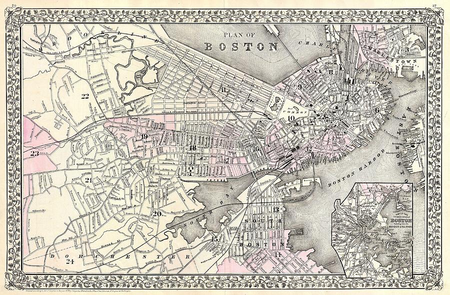 Antique Boston Map.Antique Maps Old Cartographic Maps Antique Map Of Boston