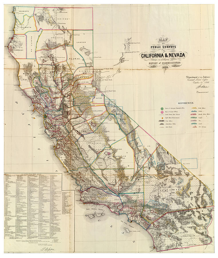 Antique Maps - Old Cartographic Maps - Antique Map Of California And  Nevada, 1866 by Studio Grafiikka