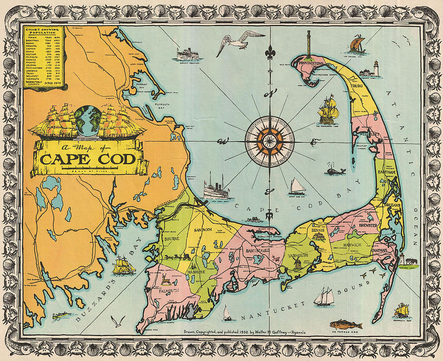 Antique Maps - Old Cartographic Maps - Antique Map Of Cape Cod, Massachusetts, 1932 Drawing