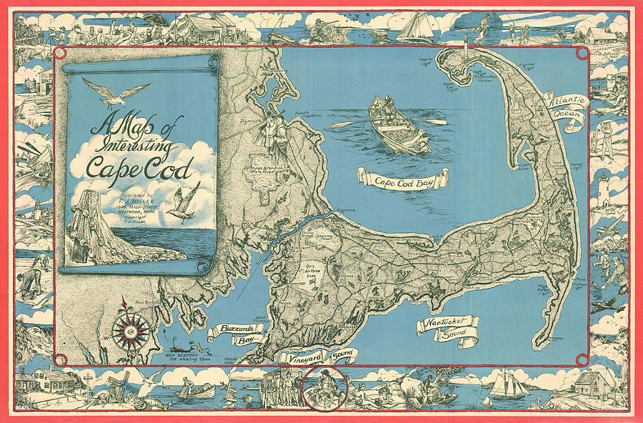Antique Maps - Old Cartographic Maps - Antique Map Of Cape Cod, Massachusetts, 1945 Drawing