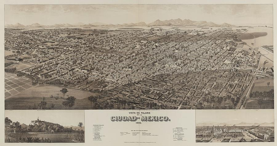 Antique Maps - Old Cartographic Maps - Antique Map Of Ciudad, Mexico, 1890 Drawing
