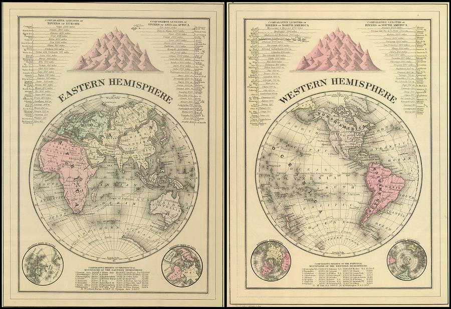 Antique Maps - Old Cartographic Maps - Antique Map Of East And West Hemisphere Drawing