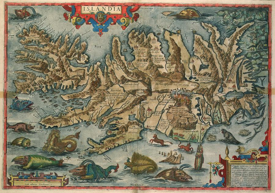Antique Maps - Old Cartographic Maps - Antique Map Of Iceland - Monsters Of Islandia Drawing