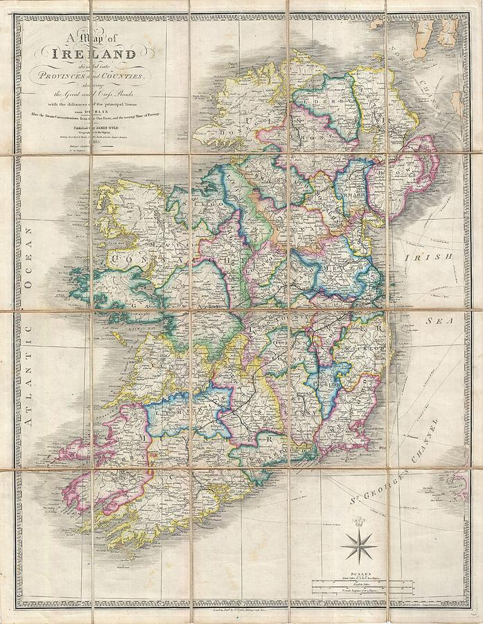 Antique Maps - Old Cartographic Maps - Antique Map Of Ireland, 1853 - James Wyld Drawing