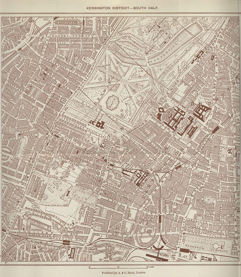 Antique Maps - Old Cartographic Maps - Antique Map Of Kensington, London Drawing