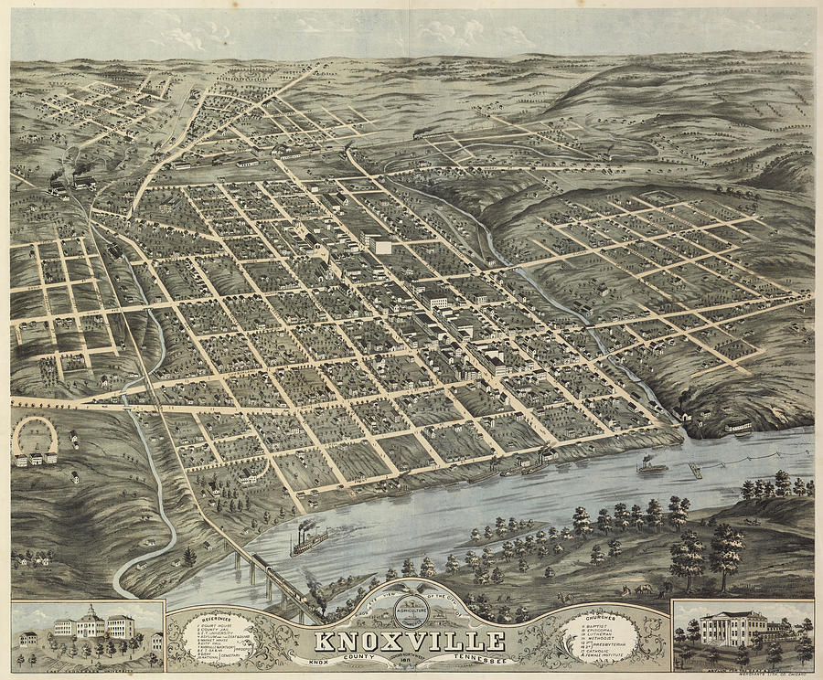 Antique Maps - Old Cartographic Maps - Antique Map Of Knoxville, 1871 Drawing