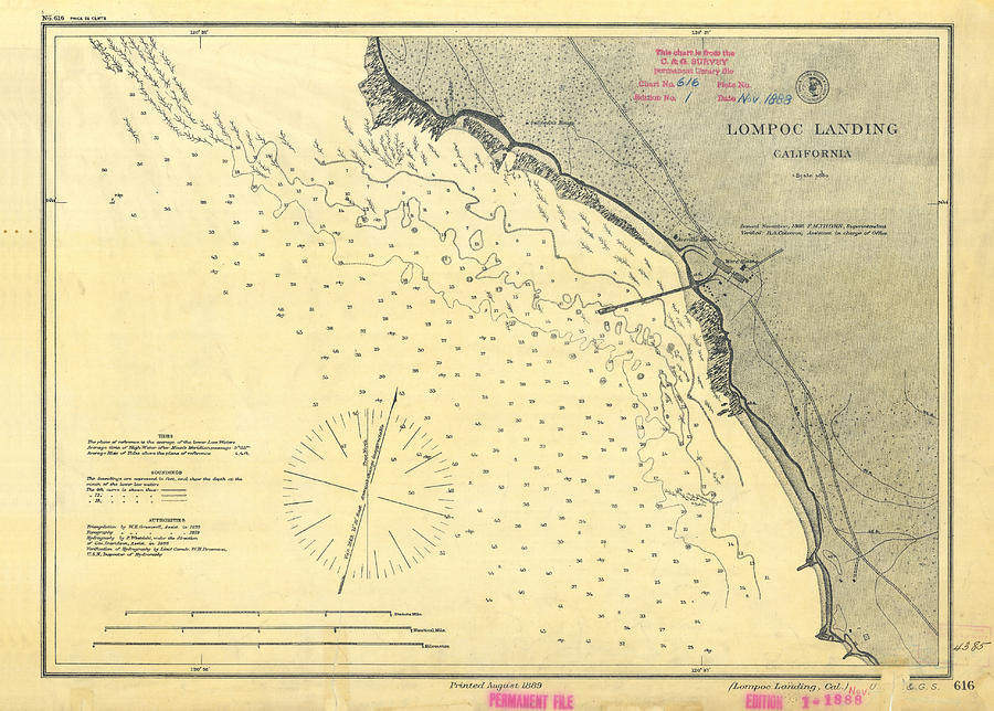 Antique Maps - Old Cartographic Maps - Antique Map Of Lompoc Landing, California, 1888 Drawing