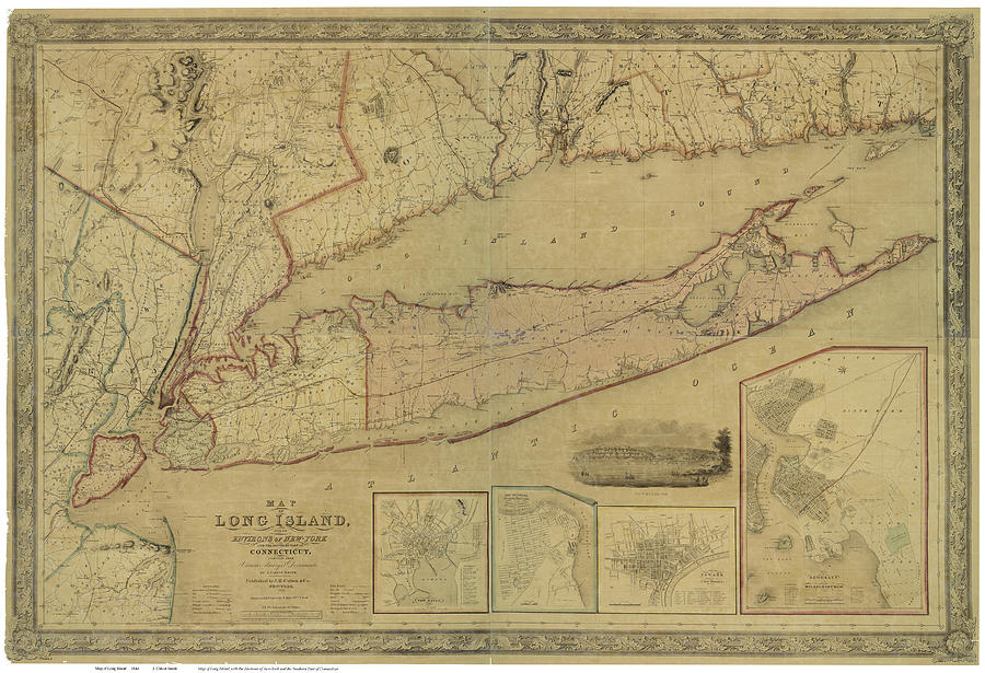 Antique Maps - Old Cartographic Maps - Antique Map Of Long Island, New York, Connecticut, 1844 Drawing