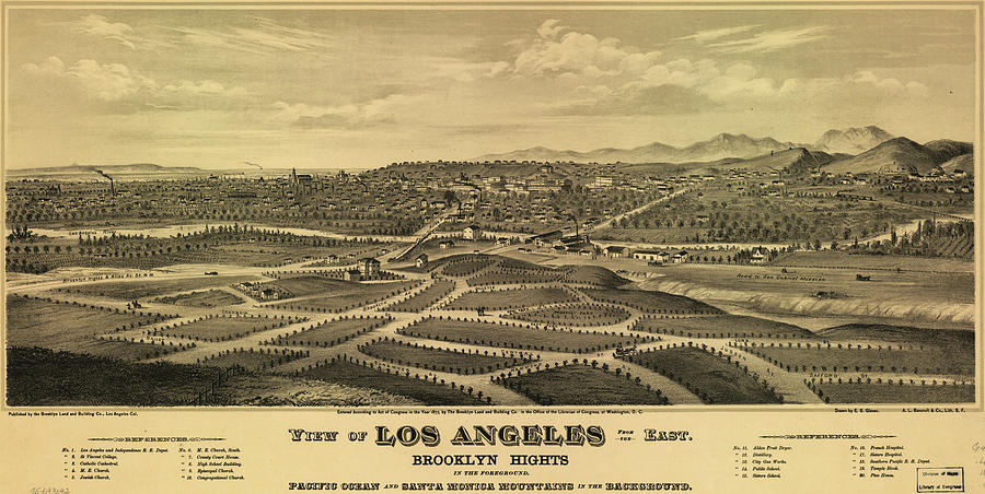 Antique Maps - Old Cartographic Maps - Antique Map Of Los Angeles, 1877 Drawing