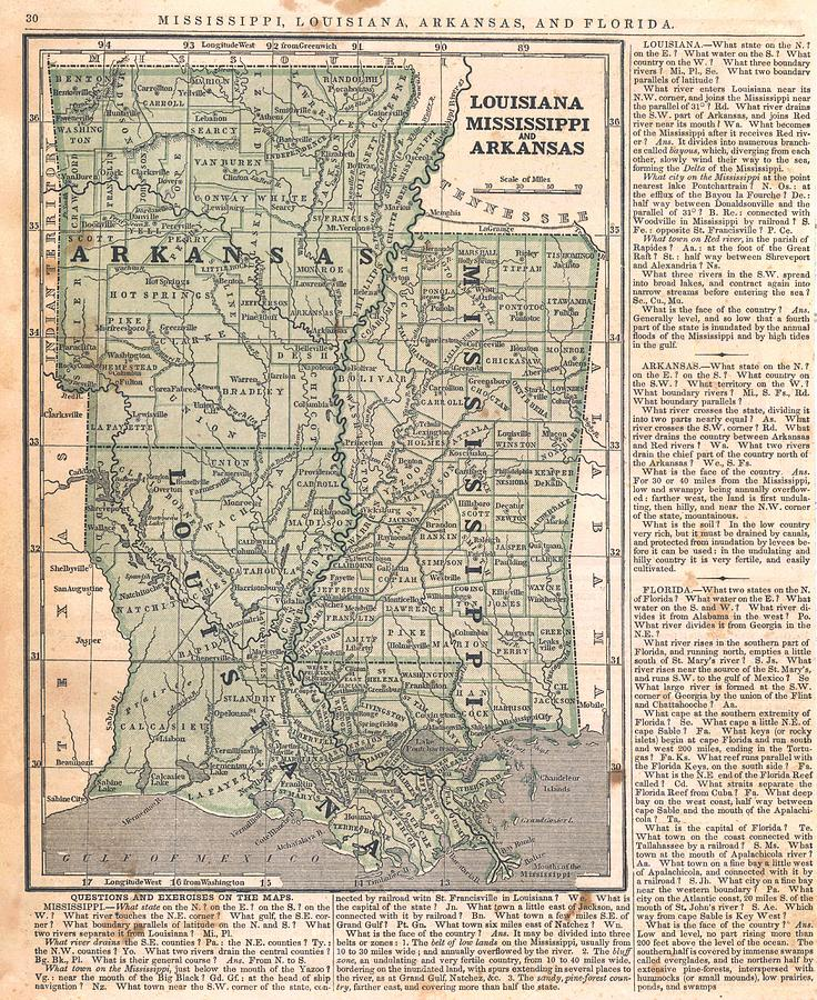 Antique Maps - Old Cartographic Maps - Antique Map Of Louisiana, Mississippi And Arkansas Drawing