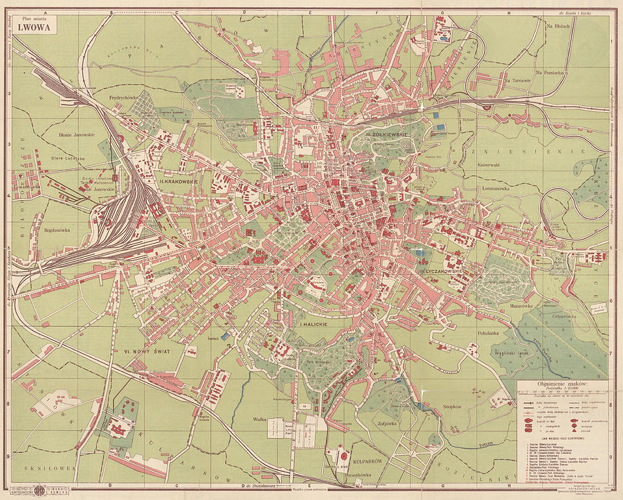 Antique Maps - Old Cartographic Maps - Antique Map Of Lwowa, Poland, 1929 Drawing