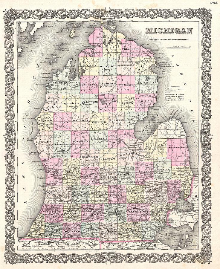 Antique Map Drawing - Antique Maps - Old Cartographic maps - Antique Map of Michigan, 1855 by Studio Grafiikka