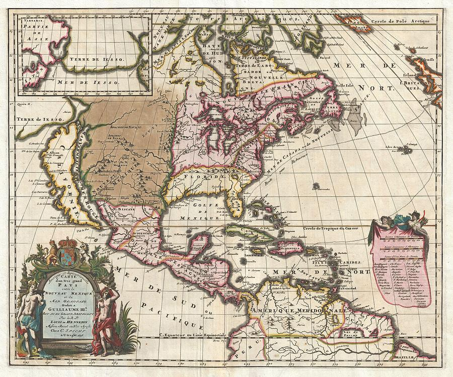 Old Maps Drawing - Antique Maps - Old Cartographic maps - Antique Map of North America by Louis Hennepin, 1698 by Studio Grafiikka