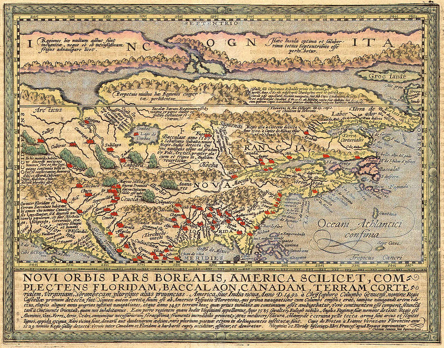 Antique Maps - Old Cartographic Maps - Antique Map Of North America - Canada, Baccalaon, Floridam Drawing