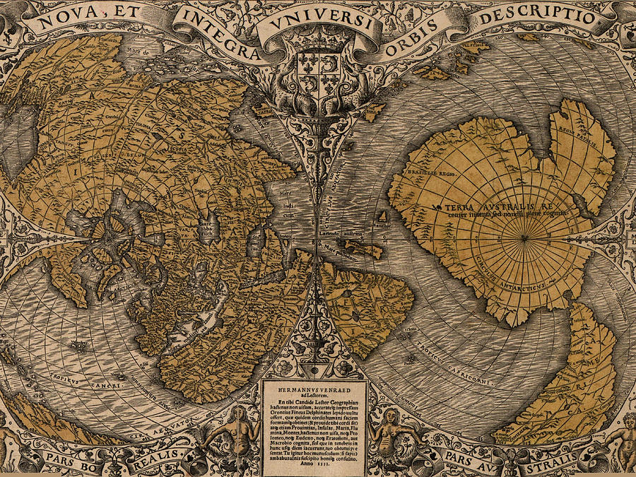Antique Maps - Old Cartographic Maps - Antique Map Of North Pole And South Pole Drawing