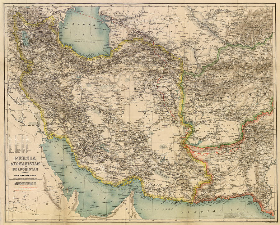 Antique Maps - Old Cartographic Maps - Antique Map Of Persia, Afghanistan And Beluchistan Drawing