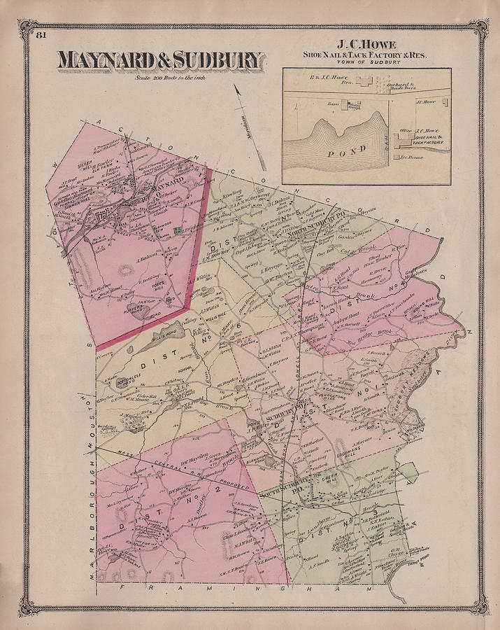 Antique Maps Old Cartographic Maps Antique Map Of Sudbury