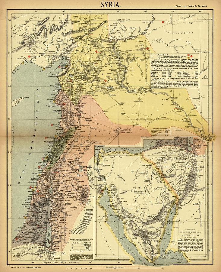Antique Maps - Old Cartographic Maps - Antique Map Of Syria, 1884 Drawing