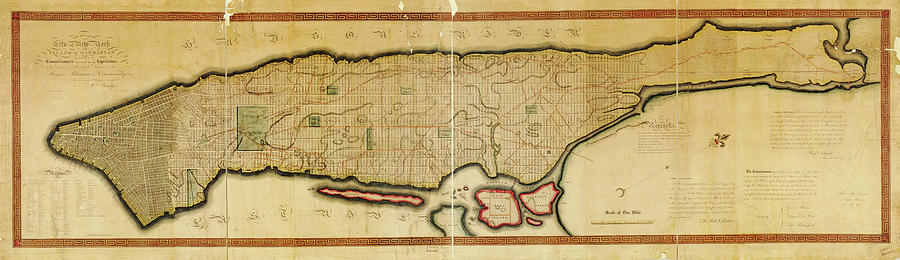 Antique Maps - Old Cartographic Maps - Antique Map Of The Island Of Manhattan, New York, 1814 Drawing