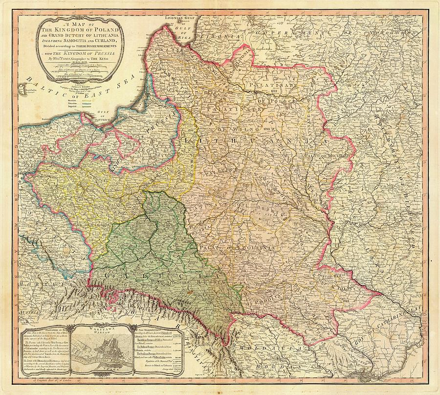 Antique Maps - Old Cartographic Maps - Antique Map Of The Kingdom Of Poland And Lithuania, 1799 Drawing