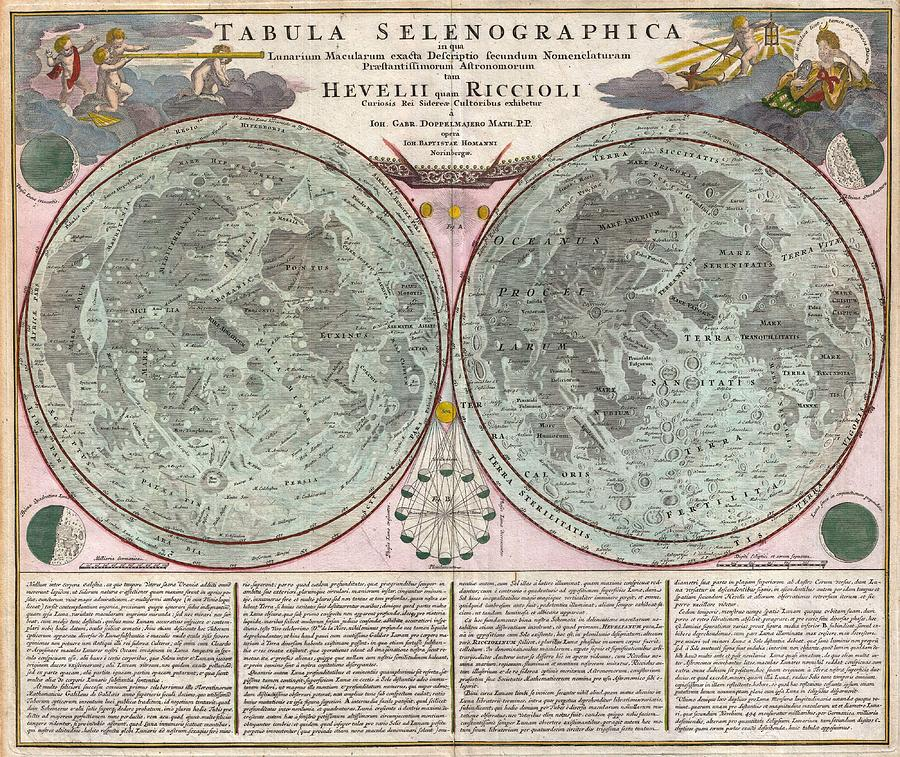 Antique Maps - Old Cartographic Maps - Antique Map Of The Moon - Tabula Selenographica, 1707 Drawing