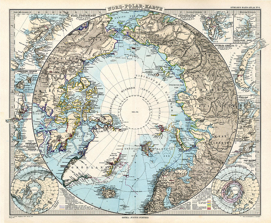 Antique Maps Old Cartographic Maps Antique Map Of The North Pole And The Arctic Region Drawing By Studio Grafiikka