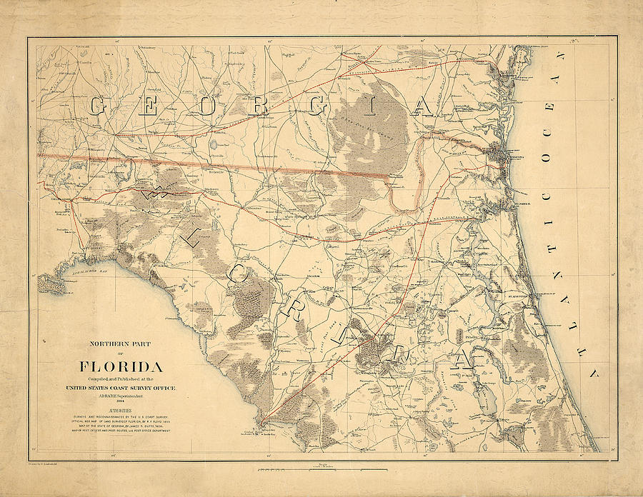 Antique Map Of Florida.Antique Maps Old Cartographic Maps Antique Map Of The Northern