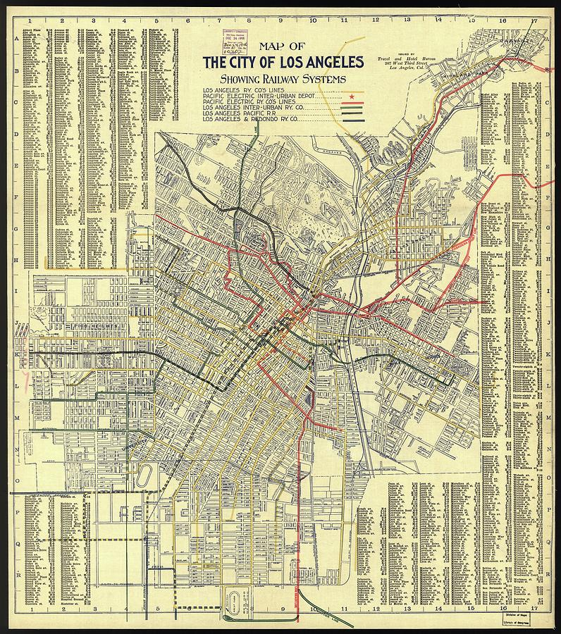 Antique Maps - Old Cartographic Maps - Antique Map Of The Railway Systems Of Los Angeles, 1906 Drawing
