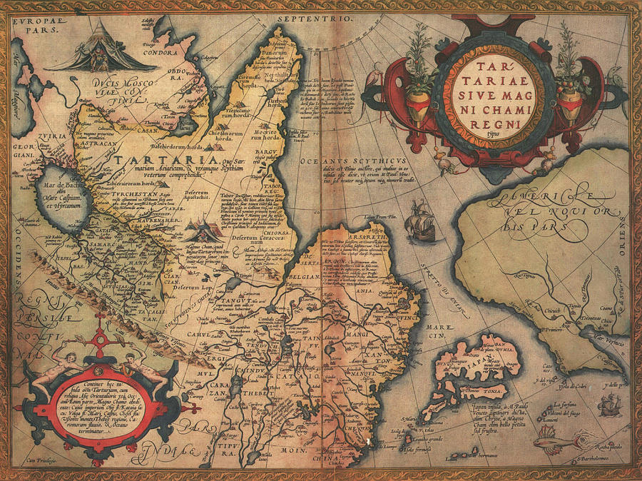 Antique Maps - Old Cartographic Maps - Antique Map Of The Region Of Tartaria Drawing
