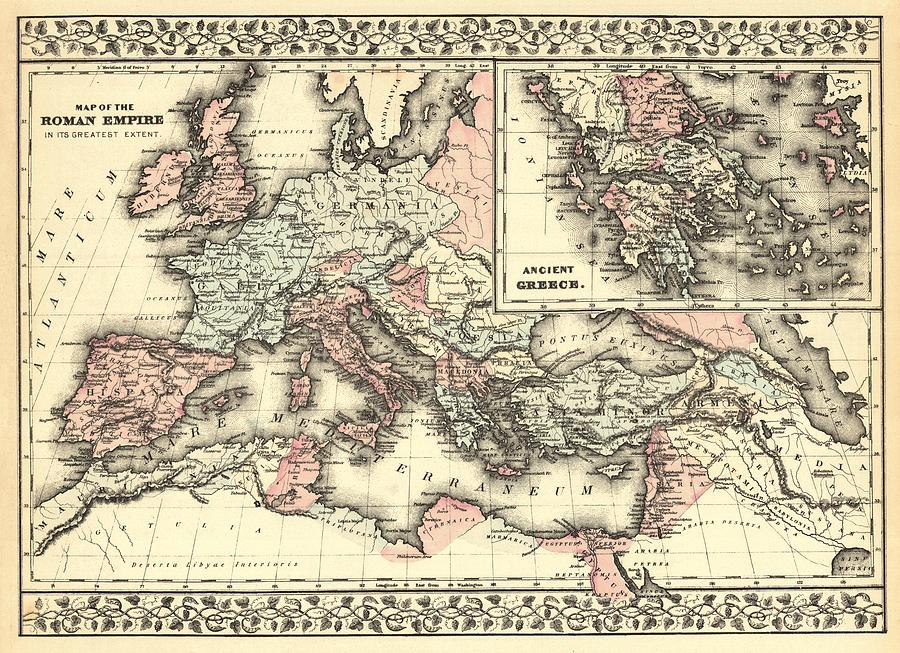 Antique Maps - Old Cartographic Maps - Antique Map Of The Roman Empire, 1880 Drawing