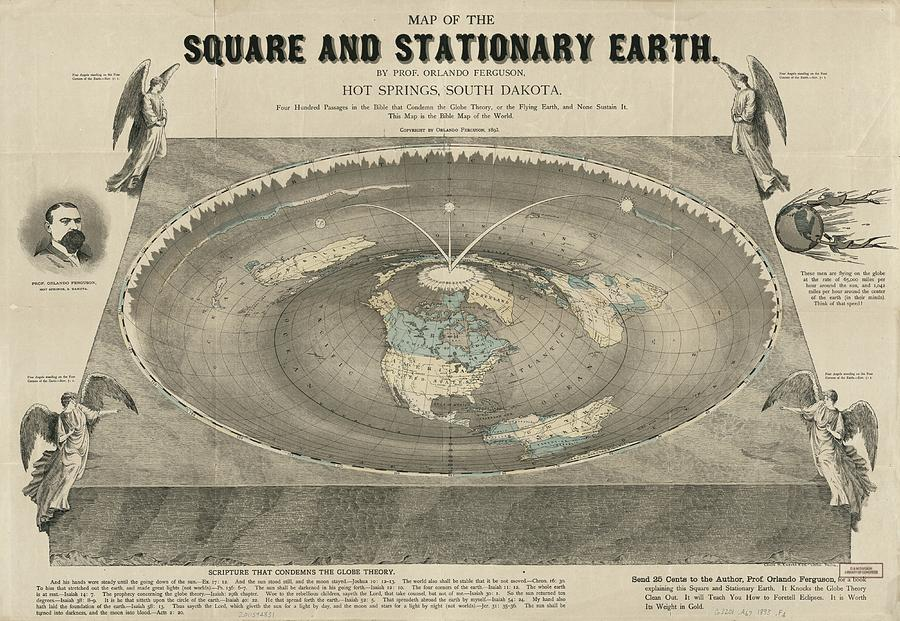 Antique Maps - Old Cartographic Maps - Antique Map Of The Square And Stationary Earth - Flat Earth Drawing