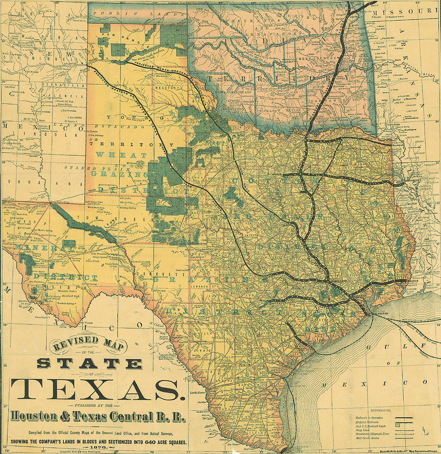 Antique Maps - Old Cartographic Maps - Antique Map Of The State Of Texas, United States, 1876 Drawing