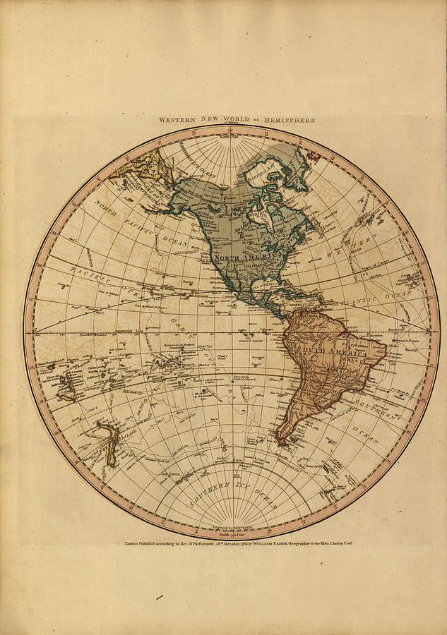 Antique Maps - Old Cartographic Maps - Antique Map Of The Western World - Western Hemisphere Drawing