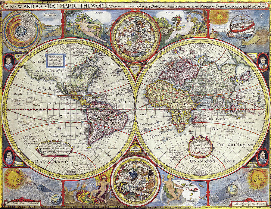 Antique Maps - Old Cartographic Maps - Antique Map Of The World, 1646 Drawing