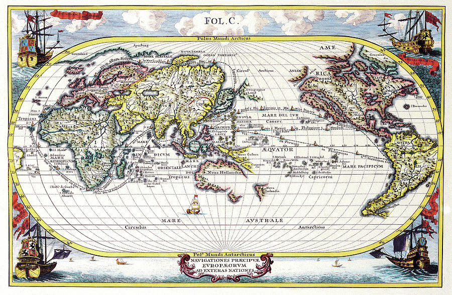 Antique Maps - Old Cartographic Maps - Antique Map Of The World, 1700