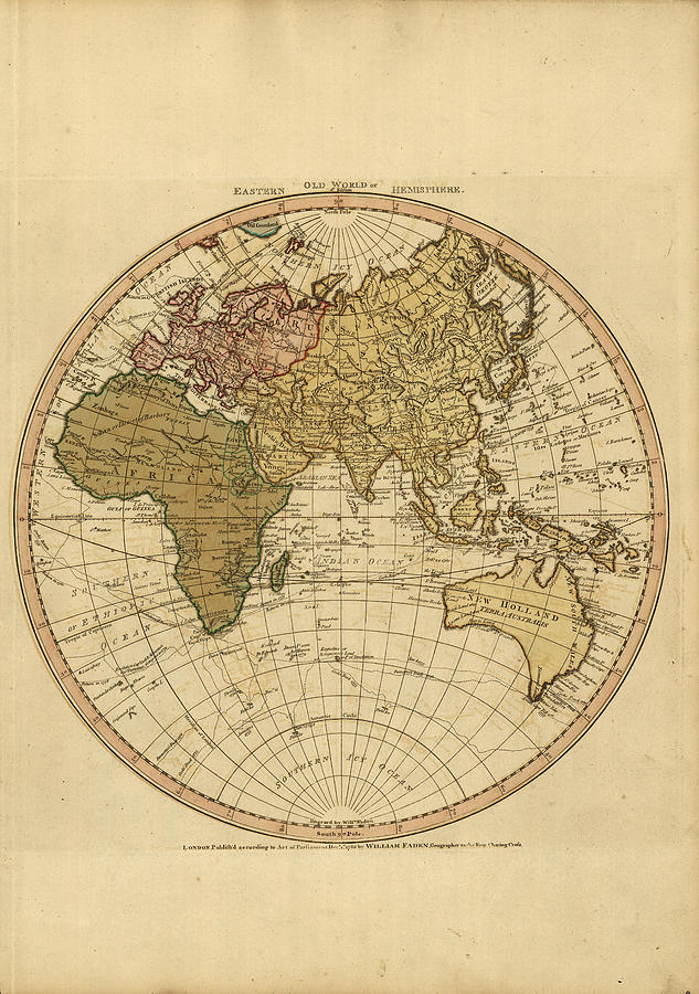 Antique Maps - Old Cartographic Maps - Antique Map Of The World - Eastern Hemisphere Map Drawing