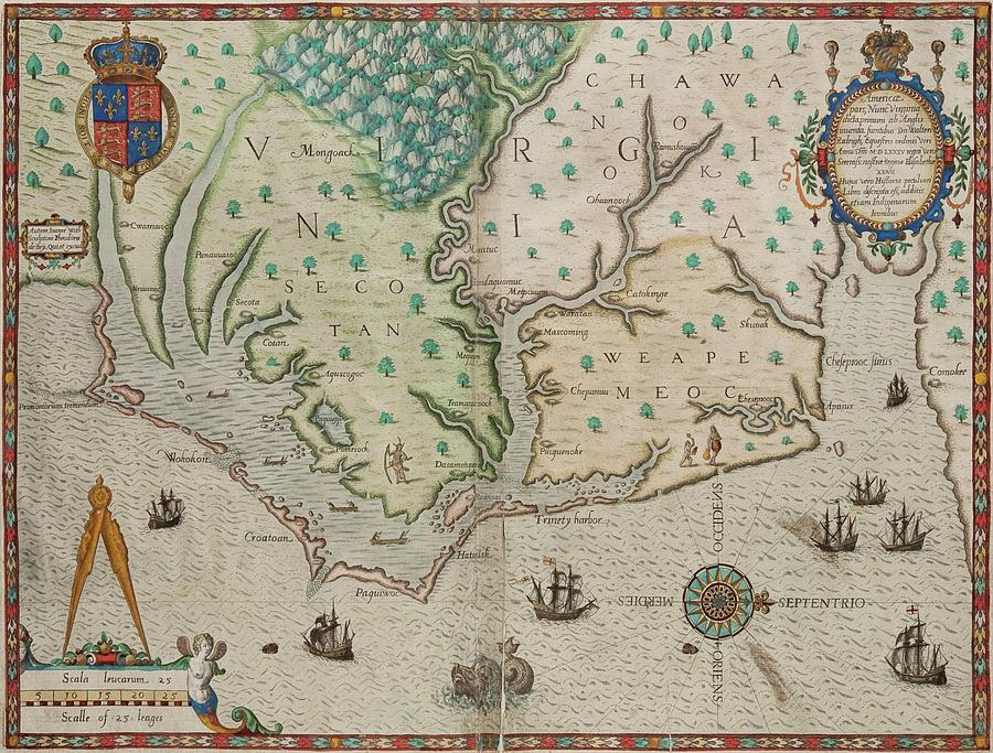 Antique Maps - Old Cartographic Maps - Antique Map Of Virginia In Latin Drawing