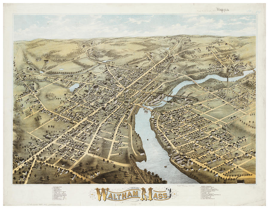 Antique Maps - Old Cartographic Maps - Antique Map Of Waltham Massachusetts, 1877 Drawing