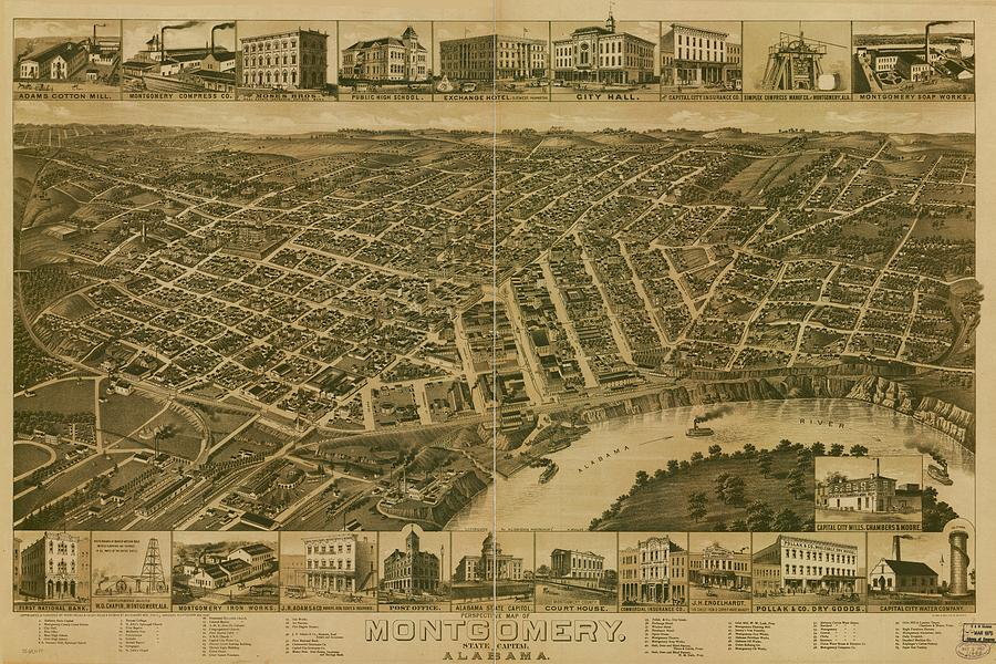 Antique Maps - Old Cartographic Maps - Antique Perspective Map Of Montgomery, Alabama, 1887 Drawing