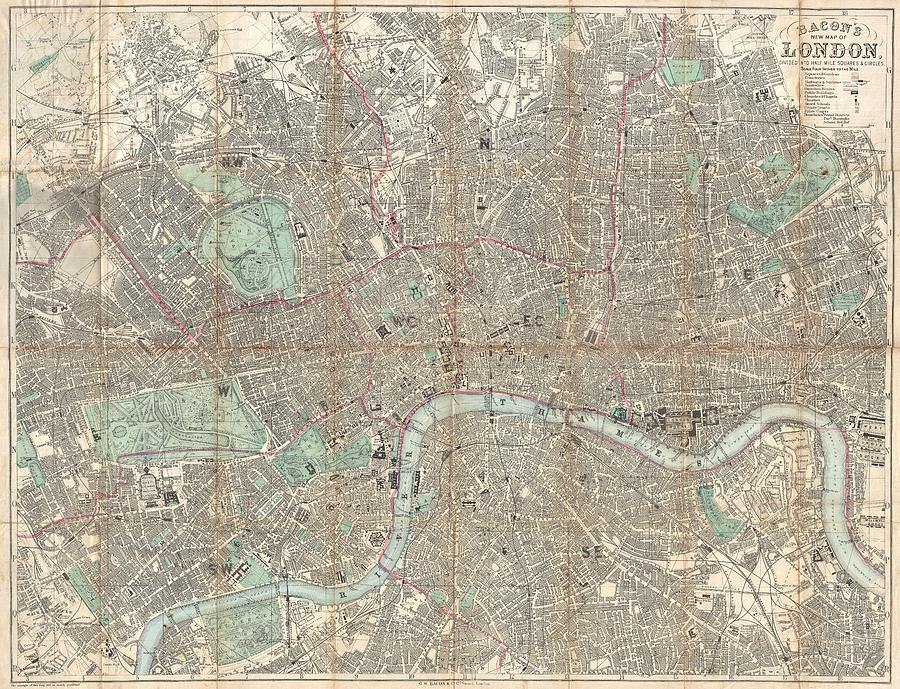 Antique Maps - Old Cartographic Maps - Antique Pocket Map Of London, England, 1890 Drawing