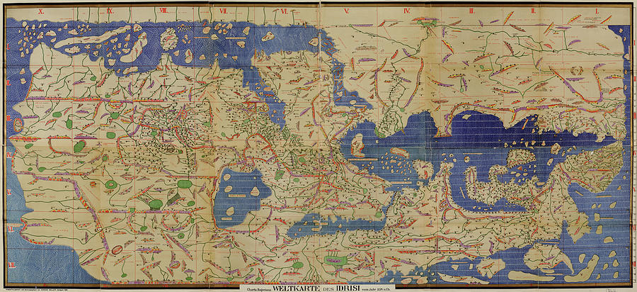 Antique Maps - Old Cartographic Maps - Antique World Map By Idrisi Drawing