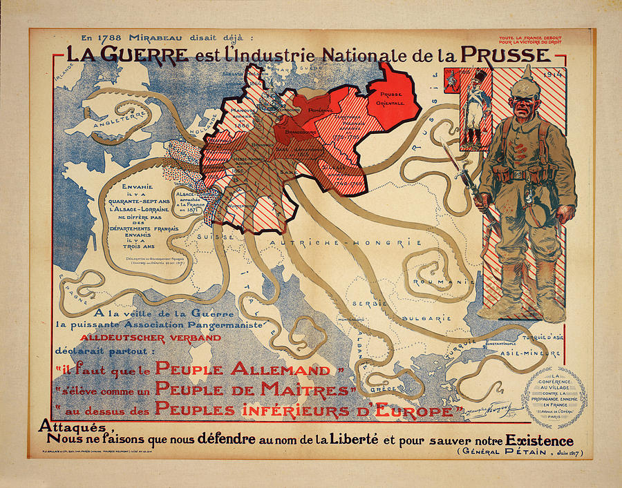 Antique Maps - Old Cartographic Maps - Vintage War Propaganda Map Showing Prussia, Europe, 1788 Drawing
