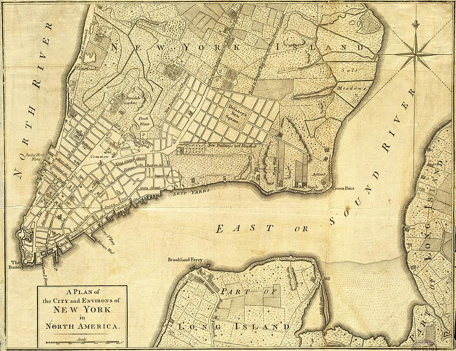 Antique Maps - Old Cartographic Maps - City Of New York And Its Environs Drawing