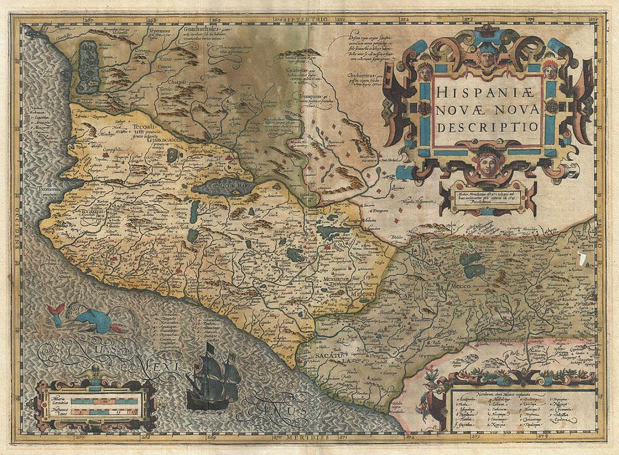 Antique Maps - Old Cartographic Maps - Hondius And Mercator Map Of Mexico, 1606 Drawing