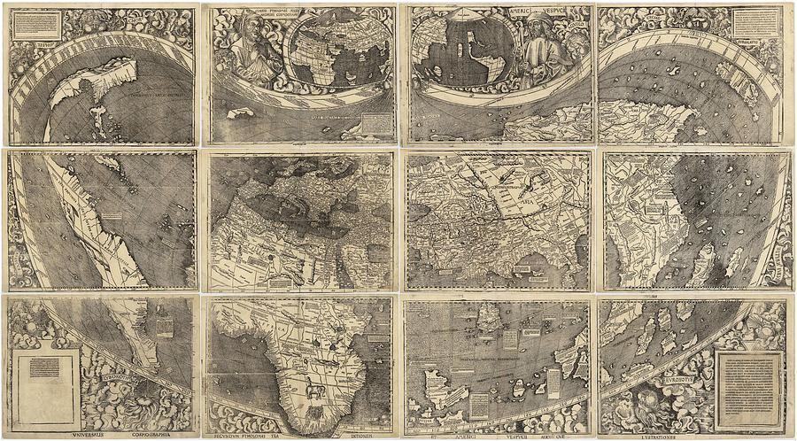 Antique Maps - Old Cartographic Maps - Illustrated Map Of The World Drawing