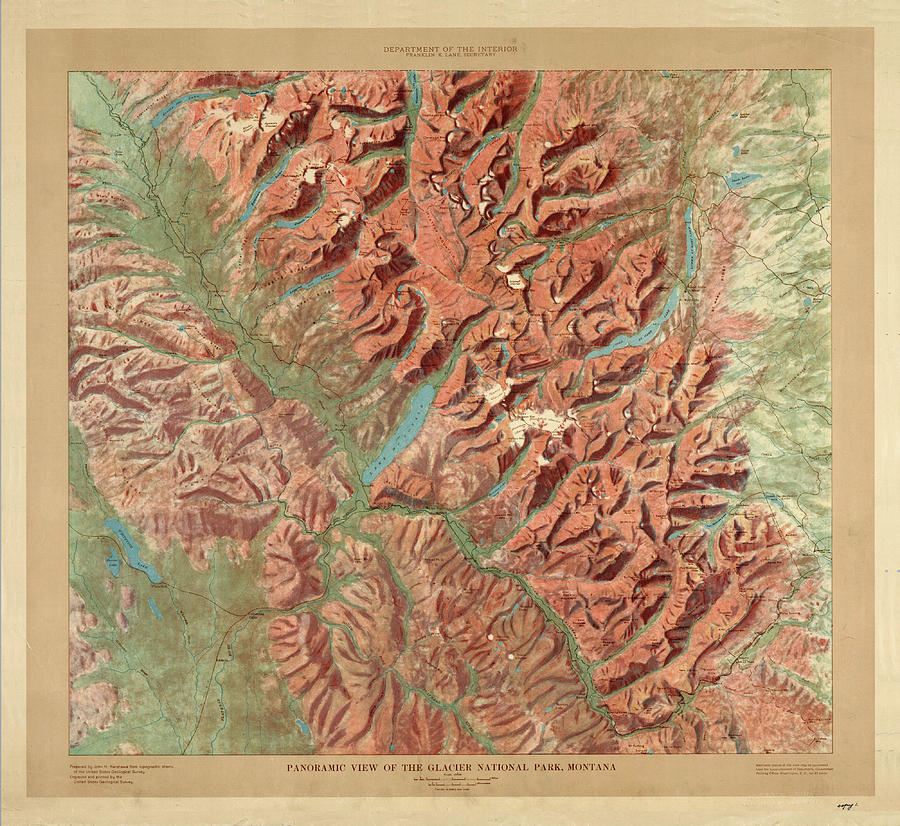 Antique Maps - Old Cartographic Maps - Relief Map Of Glacier National Park, Montana Drawing