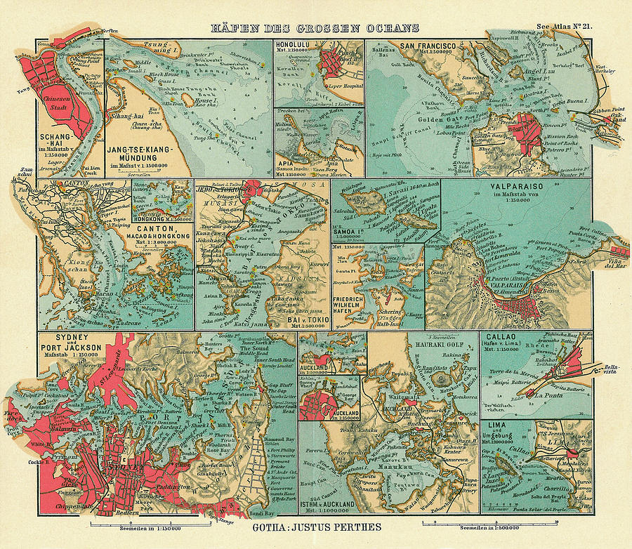 San Francisco Drawing - Antique Maps - Old Cartographic maps - Sea Ports along the Pacific Ocean, 1906 by Studio Grafiikka