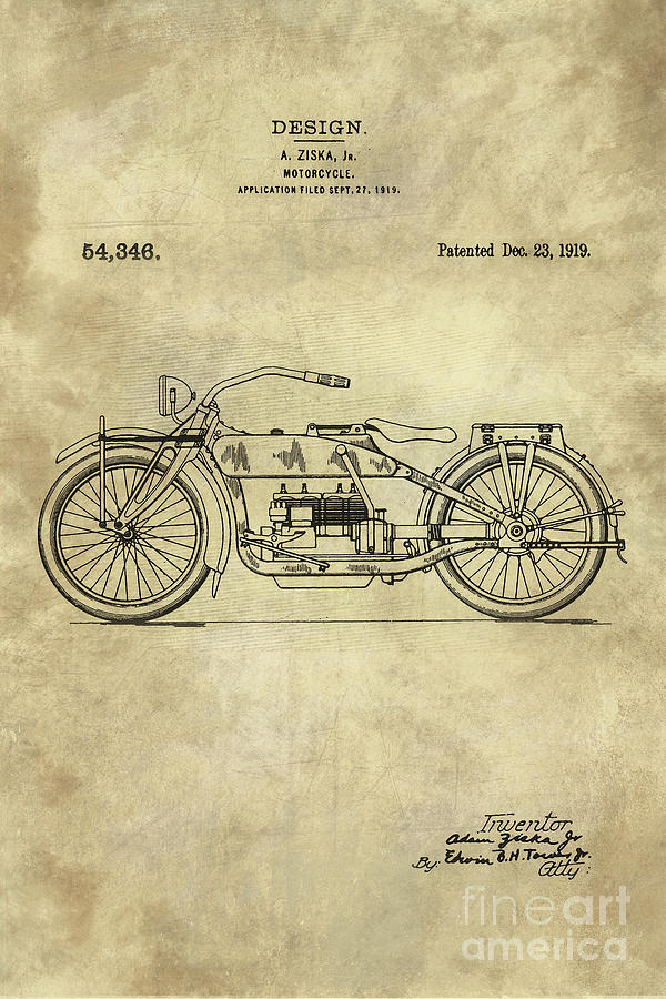 Antique motorcycle blueprint patent drawing plan from 1919 1919 painting antique motorcycle blueprint patent drawing plan from 1919 industrial farmhouse by tina malvernweather Gallery